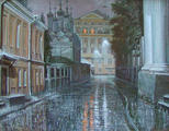 Chernigovsky pereulok in rain. Moscow