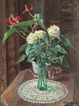 Still-life with white roses