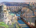 Vue de la ville basse au Grund.  Luxembourg